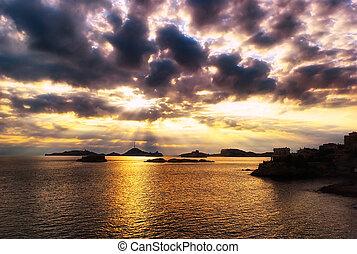 moře, západ slunce