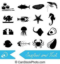 mořské jídlo, a, rybolov strava, námět, dát, o, jednoduchý ikona, eps10