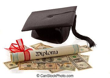 moździerz, america., koszt, deska, dollar., wykształcenie