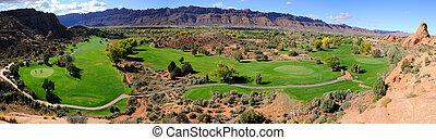 moab, deserto, campo golfe, panorama