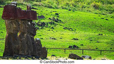 moai, arcél, zöld, ellen, kilátás, emelvény