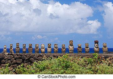 Ahu Tongariki - Moai at Ahu Tongariki on Easter Island