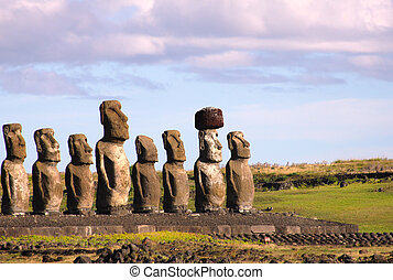 Moai at Ahu Tongariki,Easter Island - Moai at Ahu Tongariki,...