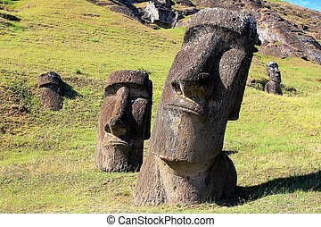 Moai at Quarry, Easter Island, Chil - Moai are monolithic...