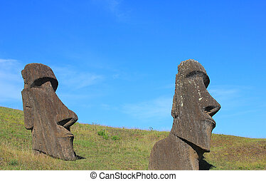 Moai at Quarry, Easter Island,Chile - Moai at Quarry, Easter...