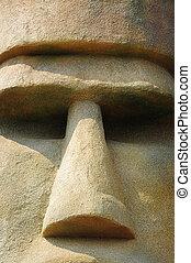 moai, cara, primer plano