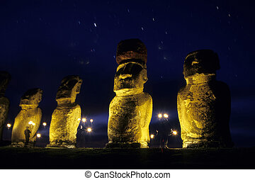 Moai- Easter Island, Chile - Ahu Tongariki is the largest...