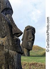 Moai- Easter Island, Chile - Moai heads at the volcanic ...