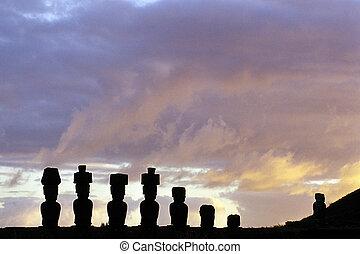 Moai- Easter Island, Chile - Moai statue with topknots...