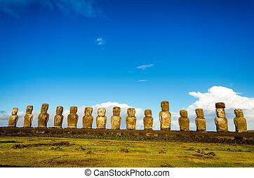 moai, en, ahu tongariki, vista