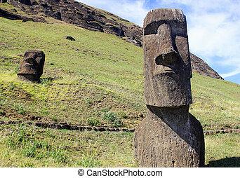 moai, en, cantera, isla de pascua