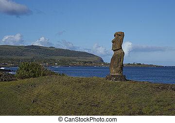 Moai, estatua, Pascua, isla,  chile