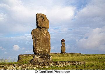moai, estatuas, en, isla de pascua