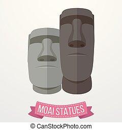 moai, estatuas, icono, blanco, plano de fondo