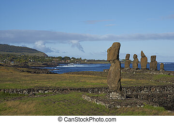 moai, estatuas, isla de pascua, chile