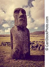 moai, ilha, ahu tongariki, estátua, páscoa