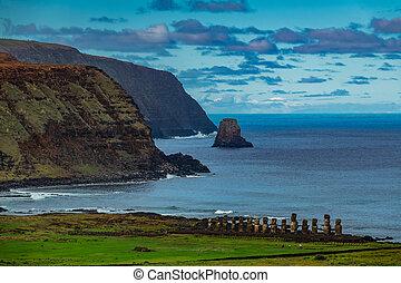 moai, isla de pascua, ahu, plataforma, tongariki, distancia.