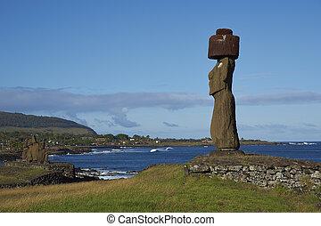 moai, pascua, estatuas, chile, isla