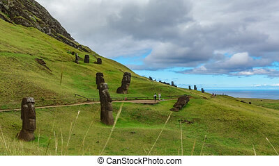 Moai quarry time lapse in Rapa Nui island with many statues...