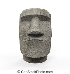 Moai Statue Isolated - Moai Statue isolated on white...