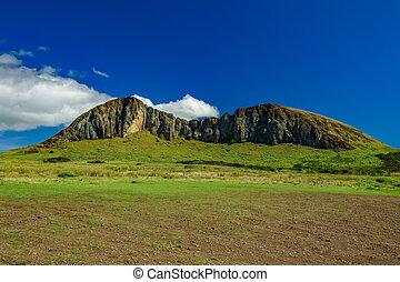 moai, steinbruch, insel, rano, kau, ostern