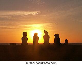 Moai Sunset Silhouette