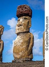 moai, wyspa, ahu tongariki, statua, wielkanoc