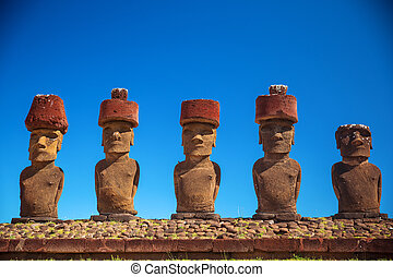 Easter island - Moais at Ahu Tongariki (Easter island,...