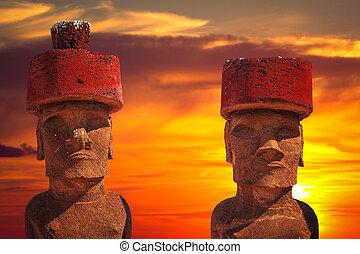 Easter island - Moais at Ahu Tongariki (Easter island,...