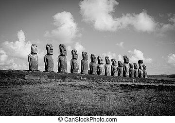 Moais statues, ahu Tongariki, easter island. Black and white...