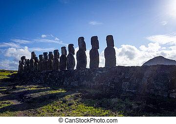 Moais statues, ahu Tongariki, easter island, Chile