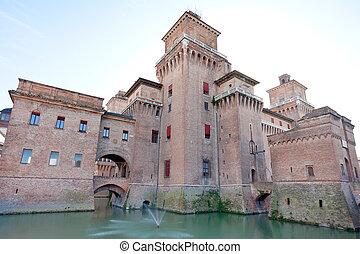 moat and Castello Estense in Ferrara,