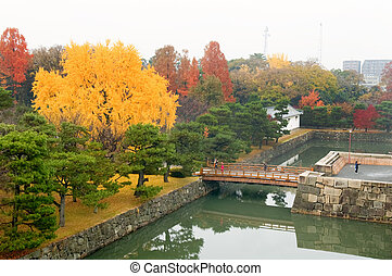 Moat at Nijo Castle - The panorama of Nijo Castle moat and...