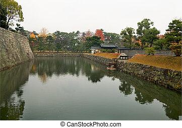 Moat at Nijo Castle - The panorama of Nijo Castle moat, in...