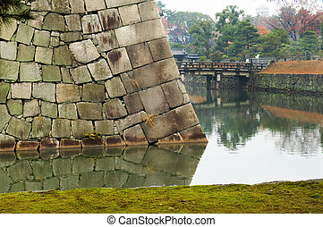 Moat at Nijo Castle - The panorama of Nijo Castle moat, in...