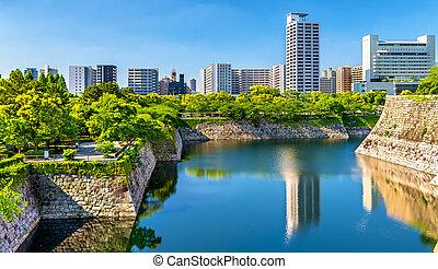 Moat of Osaka Castle in Japan