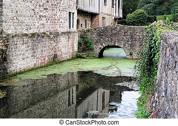 Moat around medieval manor house