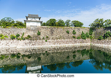 Moat with a Turret of Osaka Castle in Osaka, Japan