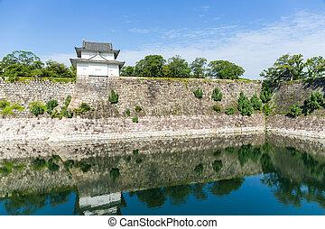 Moat with a Turret of Osaka Castle in Osaka, Japan