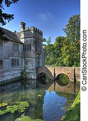 The moated manor house at Baddesley Clinton, Warwickshire, England.