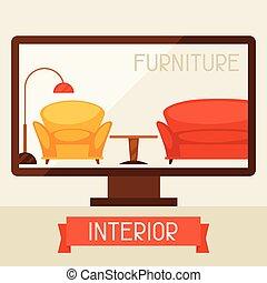 mobília, computador, retro, ilustração, style.