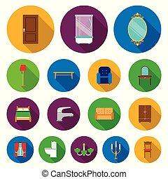 mobília, e, interior, apartamento, ícones, em, jogo, cobrança, para, design.home, mobília, vetorial, símbolo, estoque, teia, illustration.