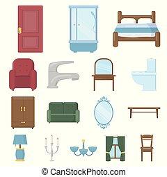mobília, e, interior, caricatura, ícones, em, jogo, cobrança, para, design.home, mobília, vetorial, símbolo, estoque, teia, illustration.