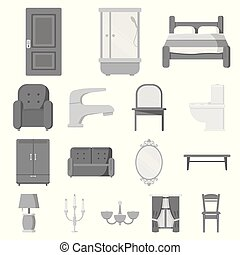 mobília, e, interior, monocromático, ícones, em, jogo, cobrança, para, design.home, mobília, vetorial, símbolo, estoque, teia, illustration.