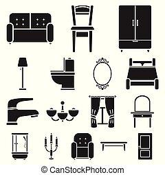 mobília, e, interior, pretas, ícones, em, jogo, cobrança, para, design.home, mobília, vetorial, símbolo, estoque, teia, illustration.