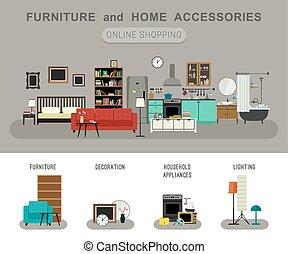 mobília, e, lar, acessórios, banner.