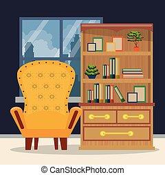 mobília, interior lar