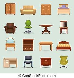 mobília, jogo, ícones