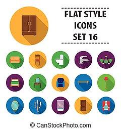 mobília, jogo, ícones, em, apartamento, style., grande, cobrança, mobília, vetorial, símbolo, ilustração acionária