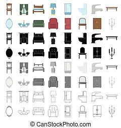mobília, jogo, ícones, em, caricatura, style., grande, cobrança, de, mobília, vetorial, símbolo, ilustração acionária